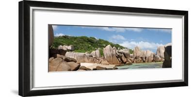 The Seychelles, La Digue, Beach, Rocks, Anse Marron, Panorama-Catharina Lux-Framed Photographic Print