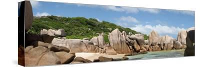 The Seychelles, La Digue, Beach, Rocks, Anse Marron, Panorama-Catharina Lux-Stretched Canvas Print