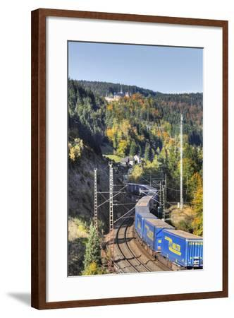 Railroad Line Winds Along a Mountainside, Freight Train, Forest, Scenery, Castle, Houses-Harald Schšn-Framed Photographic Print