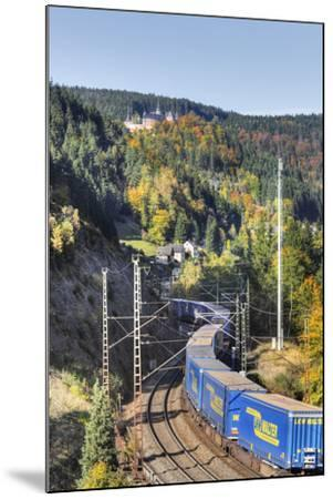 Railroad Line Winds Along a Mountainside, Freight Train, Forest, Scenery, Castle, Houses-Harald Schšn-Mounted Photographic Print