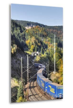 Railroad Line Winds Along a Mountainside, Freight Train, Forest, Scenery, Castle, Houses-Harald Schšn-Metal Print