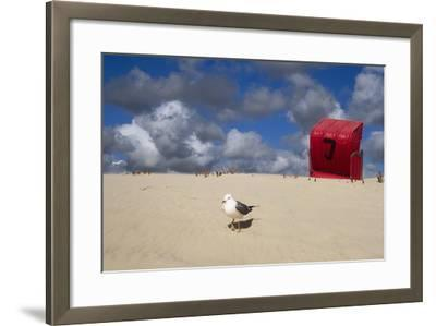 Red Beach Chair in the Dunes, Gull-Uwe Steffens-Framed Photographic Print