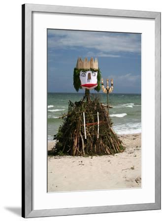The Baltic Sea, RŸgen, North Beach, Neptune Figure-Catharina Lux-Framed Photographic Print