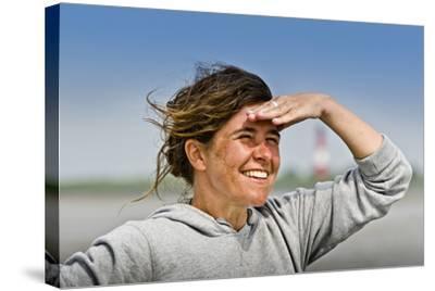 Germany, Schleswig-Holstein, Pellworm, Mud Flats, Wadden Sea, Woman, View, Portrait-Ingo Boelter-Stretched Canvas Print