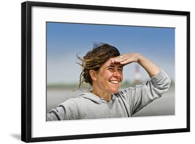 Germany, Schleswig-Holstein, Pellworm, Mud Flats, Wadden Sea, Woman, View, Portrait-Ingo Boelter-Framed Photographic Print