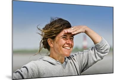 Germany, Schleswig-Holstein, Pellworm, Mud Flats, Wadden Sea, Woman, View, Portrait-Ingo Boelter-Mounted Photographic Print