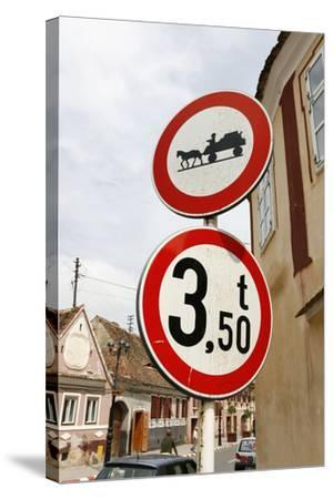 Romania, Road Signs, Ban Sign for Horses and Carts- Fact-Stretched Canvas Print