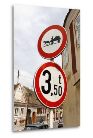 Romania, Road Signs, Ban Sign for Horses and Carts- Fact-Metal Print