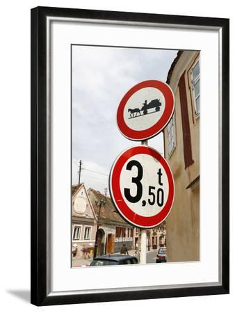 Romania, Road Signs, Ban Sign for Horses and Carts- Fact-Framed Photographic Print