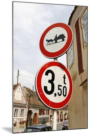 Romania, Road Signs, Ban Sign for Horses and Carts- Fact-Mounted Photographic Print