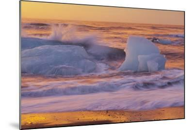 Icebergs in the Waves Next to Glacial River Lagoon Jškuls‡rlon (Lake), East Iceland, Iceland-Rainer Mirau-Mounted Photographic Print