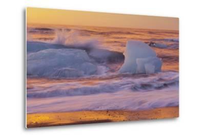 Icebergs in the Waves Next to Glacial River Lagoon Jškuls‡rlon (Lake), East Iceland, Iceland-Rainer Mirau-Metal Print