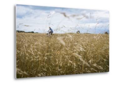 Boy with Bicycle in Grain Field-Ralf Gerard-Metal Print
