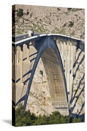 Croatia, Kvarner Gulf, Krk (Island), Bridge, Shade, Cars-Rainer Mirau-Stretched Canvas Print