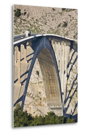 Croatia, Kvarner Gulf, Krk (Island), Bridge, Shade, Cars-Rainer Mirau-Metal Print
