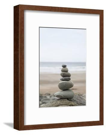 Stone Tower, Balance, Pebble Stones, Beach-Andrea Haase-Framed Photographic Print