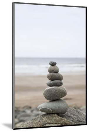 Stone Tower, Balance, Pebble Stones, Beach-Andrea Haase-Mounted Photographic Print