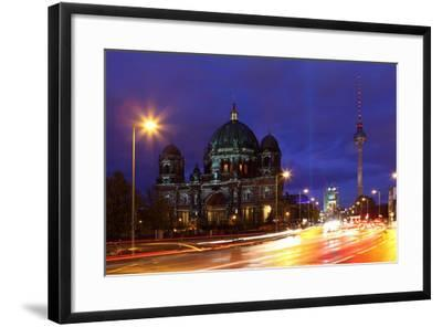 Germany, Berlin, Berlin Cathedral, Illumination, Evening-Catharina Lux-Framed Photographic Print