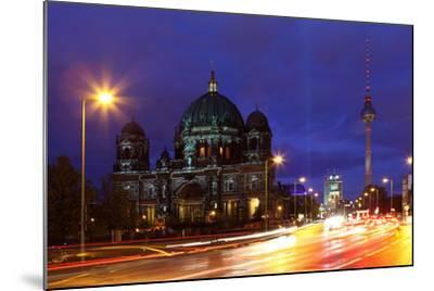 Germany, Berlin, Berlin Cathedral, Illumination, Evening-Catharina Lux-Mounted Photographic Print