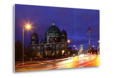 Germany, Berlin, Berlin Cathedral, Illumination, Evening-Catharina Lux-Metal Print