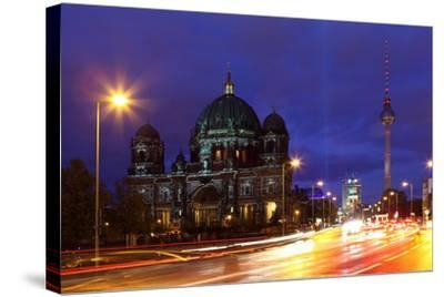 Germany, Berlin, Berlin Cathedral, Illumination, Evening-Catharina Lux-Stretched Canvas Print