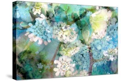 Poetic Photographic Layer Work from White and Blue Flowers with Textures-Alaya Gadeh-Stretched Canvas Print