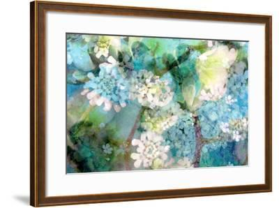 Poetic Photographic Layer Work from White and Blue Flowers with Textures-Alaya Gadeh-Framed Photographic Print