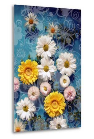 Blossoms in Water with Hand Drawing Floral Ornaments, Photographic Layer Work-Alaya Gadeh-Metal Print