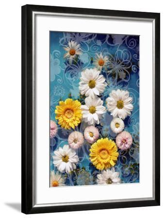 Blossoms in Water with Hand Drawing Floral Ornaments, Photographic Layer Work-Alaya Gadeh-Framed Photographic Print