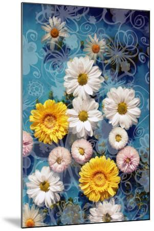 Blossoms in Water with Hand Drawing Floral Ornaments, Photographic Layer Work-Alaya Gadeh-Mounted Photographic Print