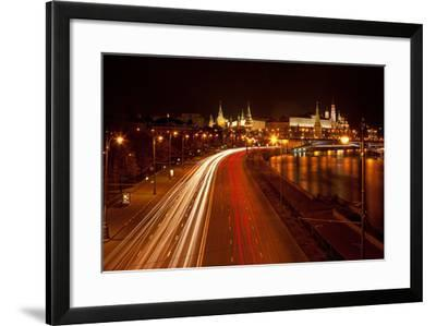 Moscow, Traffic on the Moskva Shore, Kremlin, at Night-Catharina Lux-Framed Photographic Print