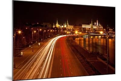Moscow, Traffic on the Moskva Shore, Kremlin, at Night-Catharina Lux-Mounted Photographic Print