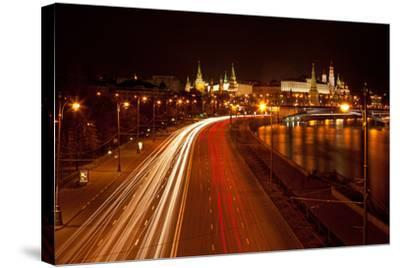 Moscow, Traffic on the Moskva Shore, Kremlin, at Night-Catharina Lux-Stretched Canvas Print