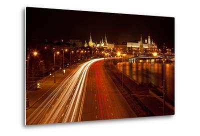 Moscow, Traffic on the Moskva Shore, Kremlin, at Night-Catharina Lux-Metal Print
