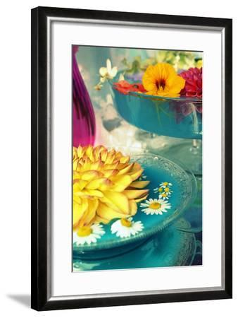 Table Decoration, Coloured Blossoms and Water Bowl-Alaya Gadeh-Framed Photographic Print