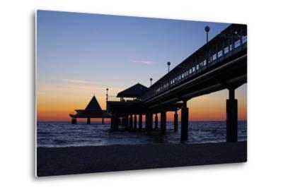 Germany, the Baltic Sea, Island Usedom, Heringsdorf, Beach, Pier, Morning Mood-Chris Seba-Metal Print