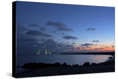 Denmark, Funen, Great Belt Bridge, Illuminated, Evening Mood-Chris Seba-Stretched Canvas Print