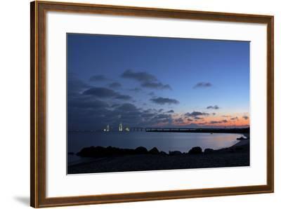 Denmark, Funen, Great Belt Bridge, Illuminated, Evening Mood-Chris Seba-Framed Photographic Print