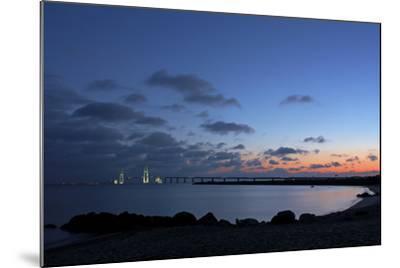 Denmark, Funen, Great Belt Bridge, Illuminated, Evening Mood-Chris Seba-Mounted Photographic Print