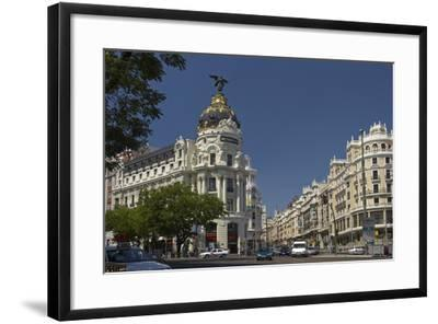 Spain, Madrid, Grain Via, Metropolis-Haus, Street-Scene-Chris Seba-Framed Photographic Print