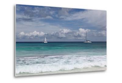 The Seychelles, La Digue, Anse Coco, Two Catamaran Yachtsmen-Catharina Lux-Metal Print