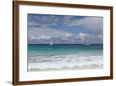 The Seychelles, La Digue, Anse Coco, Two Catamaran Yachtsmen-Catharina Lux-Framed Photographic Print