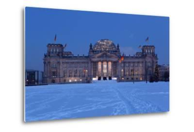 Germany, Berlin, Snow, Reichstag, Night Photography-Catharina Lux-Metal Print
