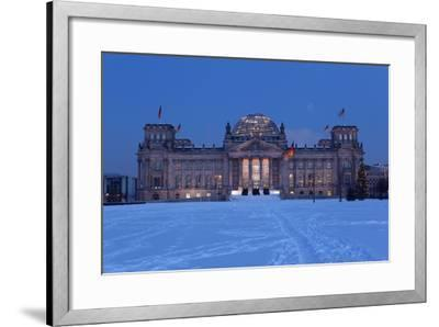 Germany, Berlin, Snow, Reichstag, Night Photography-Catharina Lux-Framed Photographic Print