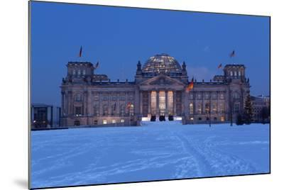 Germany, Berlin, Snow, Reichstag, Night Photography-Catharina Lux-Mounted Photographic Print