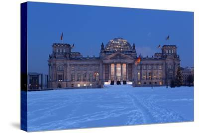 Germany, Berlin, Snow, Reichstag, Night Photography-Catharina Lux-Stretched Canvas Print