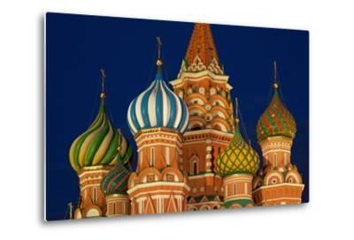 Moscow, Red Square, Saint Basil's Cathedral, Bulbous Spires, at Night-Catharina Lux-Metal Print