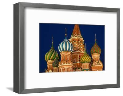Moscow, Red Square, Saint Basil's Cathedral, Bulbous Spires, at Night-Catharina Lux-Framed Photographic Print