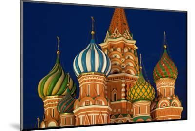 Moscow, Red Square, Saint Basil's Cathedral, Bulbous Spires, at Night-Catharina Lux-Mounted Photographic Print
