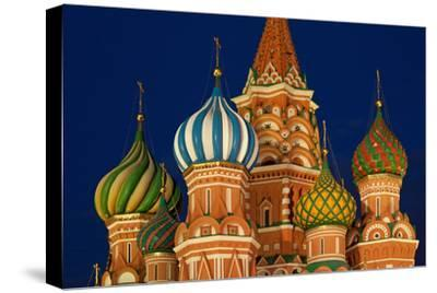 Moscow, Red Square, Saint Basil's Cathedral, Bulbous Spires, at Night-Catharina Lux-Stretched Canvas Print